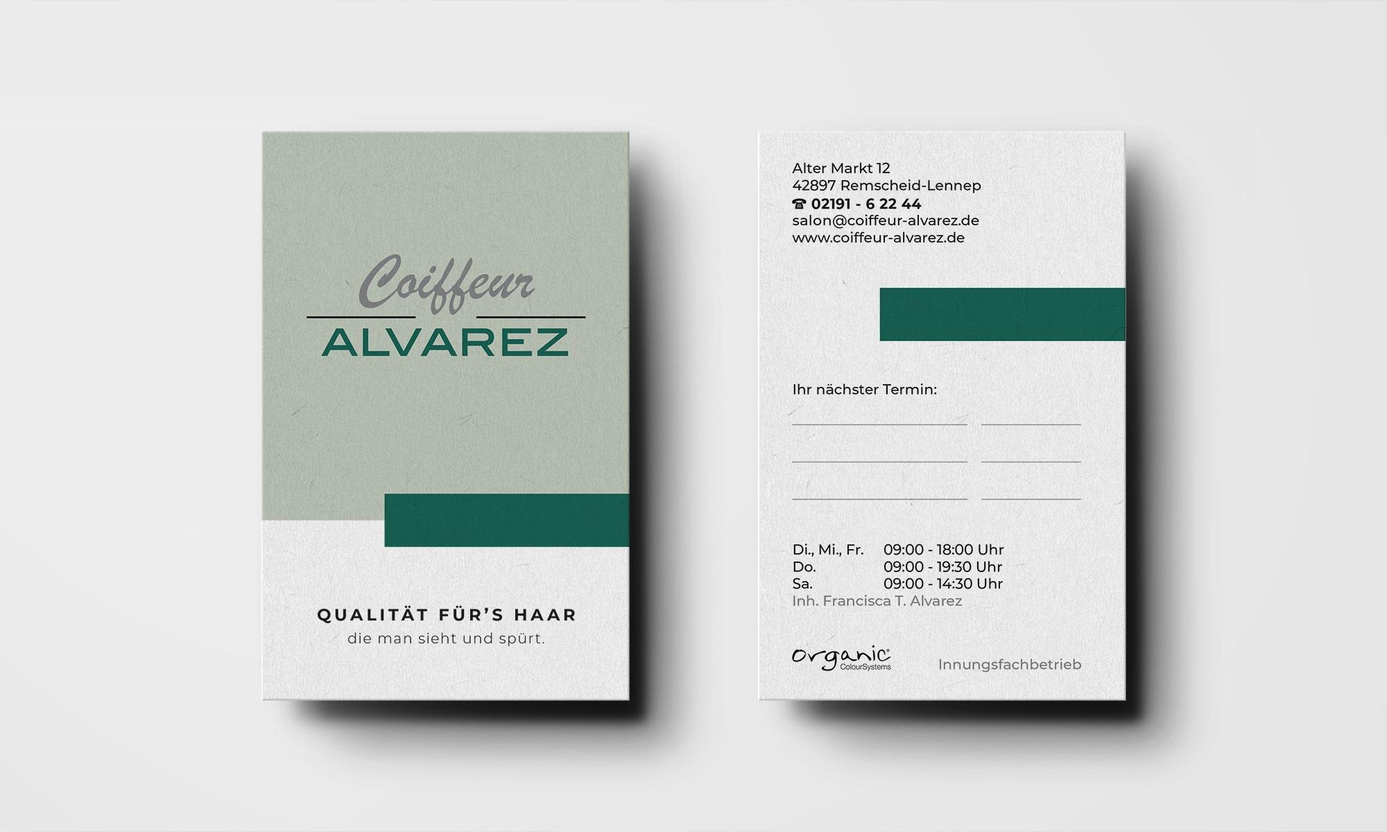Coiffeur Alvarez Remscheid Visitenkarte