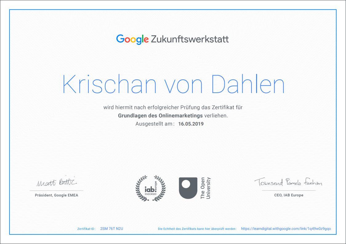 Krischan von Dahlen | Google Zertifikat | Online Marketing