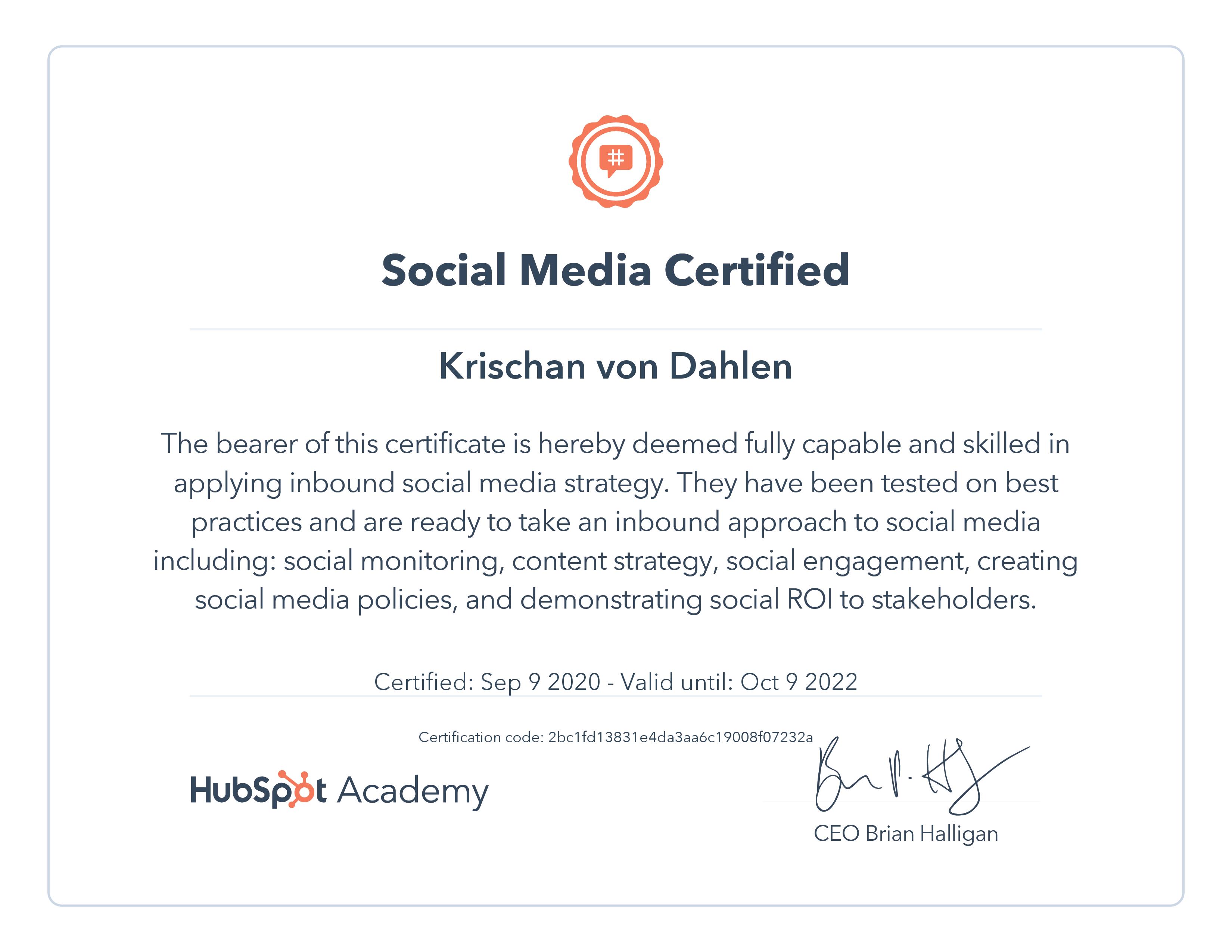 Krischan von Dahlen - Social Media Marketing Zertifikat